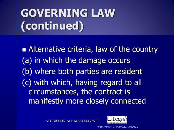 GOVERNING LAW (continued)