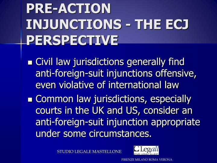 PRE-ACTION INJUNCTIONS - THE ECJ PERSPECTIVE