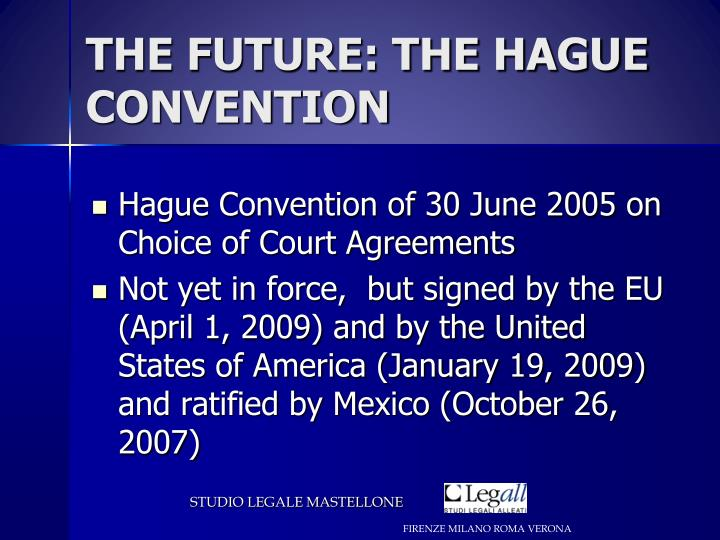 THE FUTURE: THE HAGUE CONVENTION