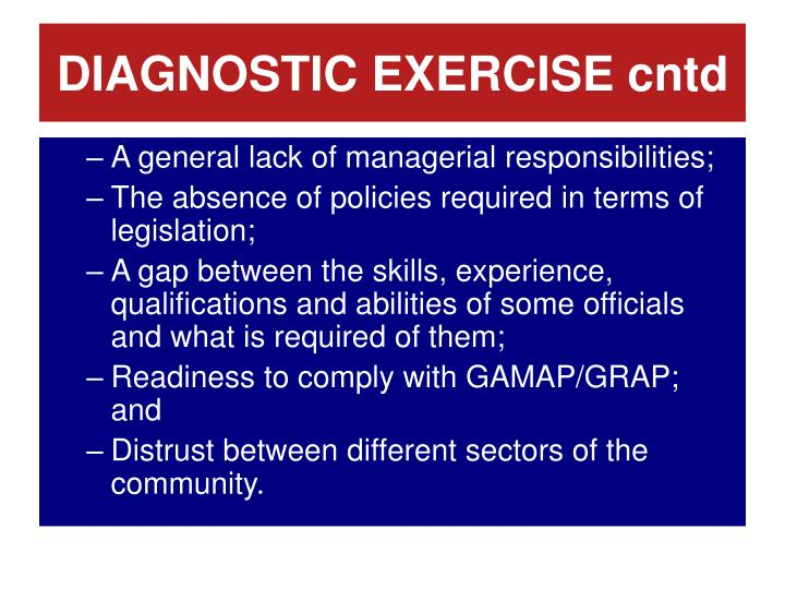 DIAGNOSTIC EXERCISE cntd