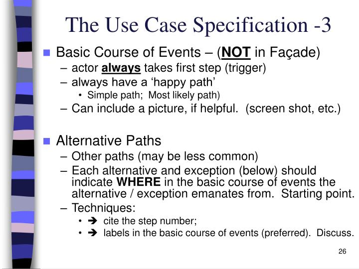The Use Case Specification -3