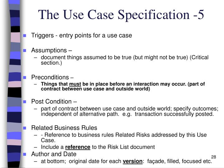 The Use Case Specification -5