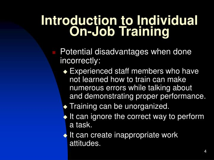Introduction to Individual On-Job Training