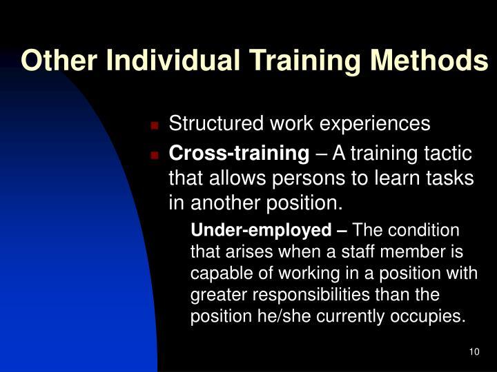Other Individual Training Methods