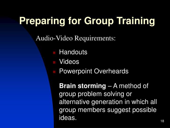 Preparing for Group Training