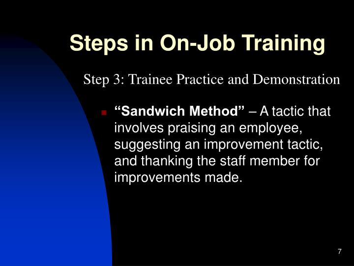 Steps in On-Job Training