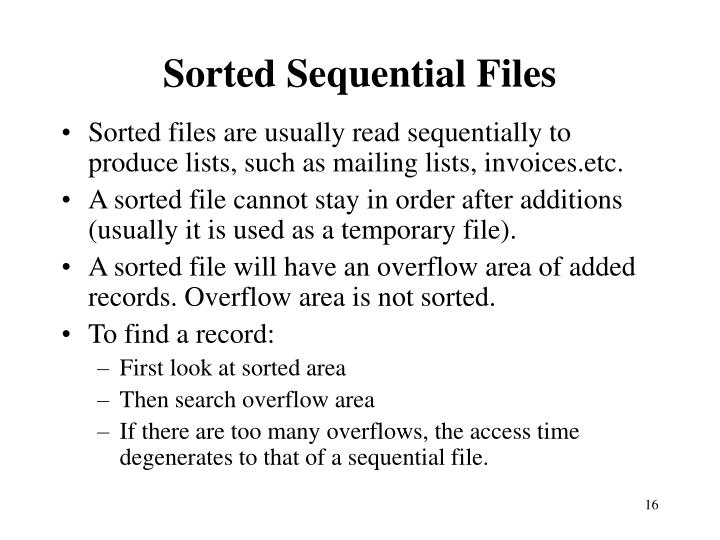 Sorted Sequential Files