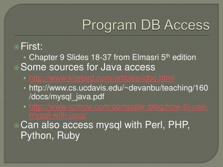 Program DB Access