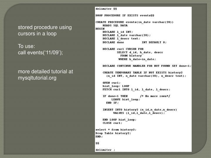 stored procedure using cursors in a loop