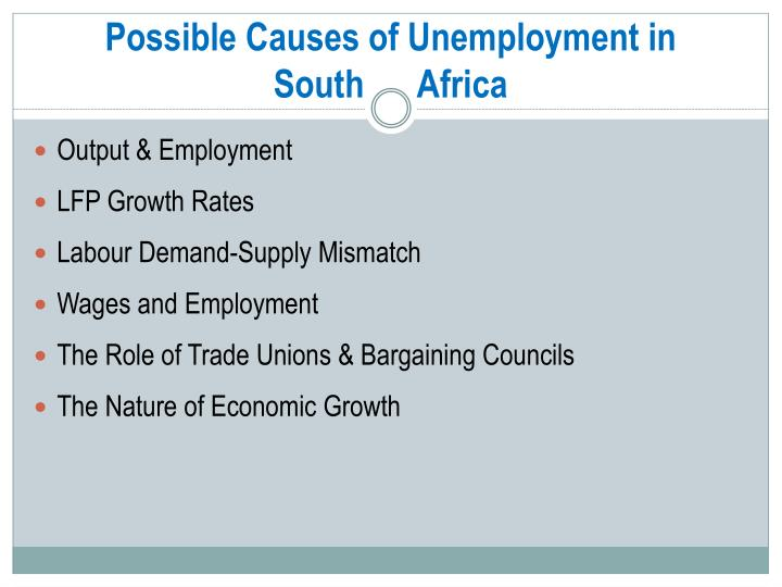Possible Causes of Unemployment in