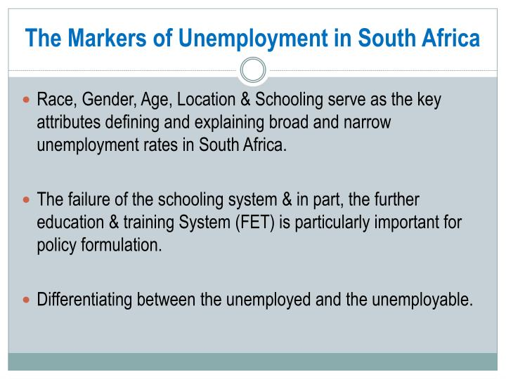 The Markers of Unemployment in South Africa