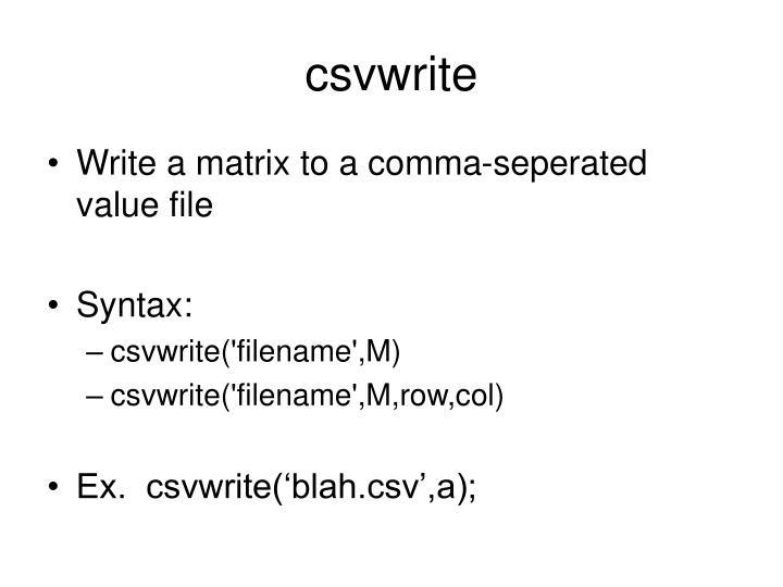 csvwrite