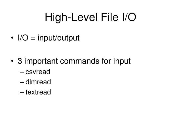 High-Level File I/O