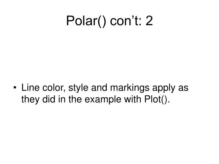 Polar() con't: 2