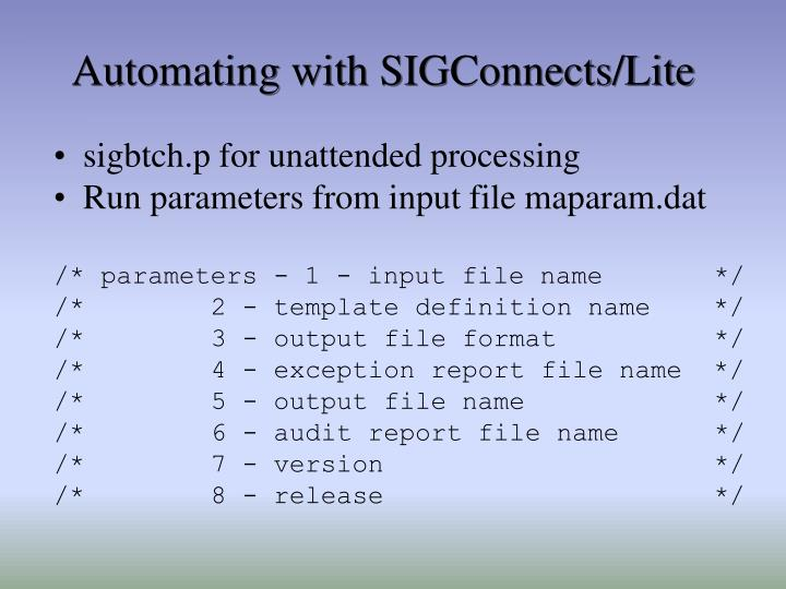 Automating with SIGConnects/Lite