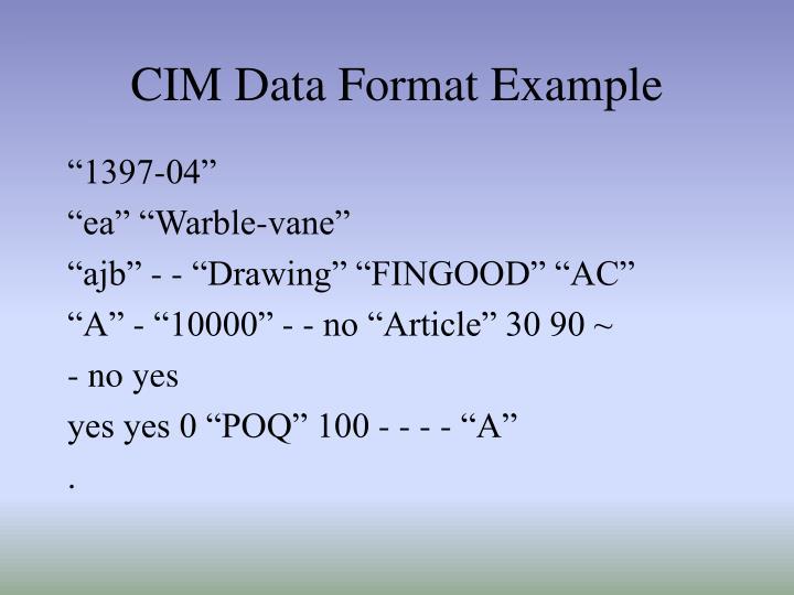 CIM Data Format Example