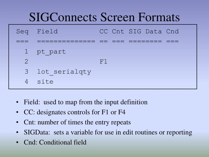 SIGConnects Screen Formats
