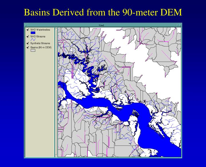 Basins Derived from the 90-meter DEM