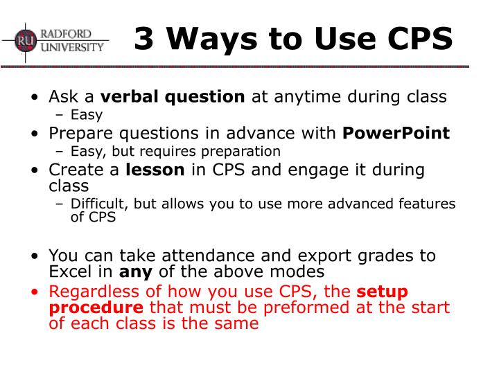 3 Ways to Use CPS
