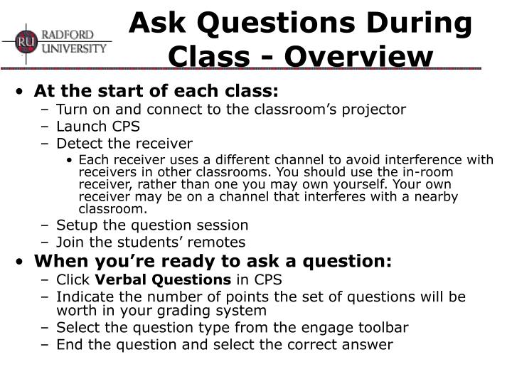 Ask Questions During Class - Overview
