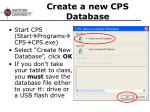 create a new cps database