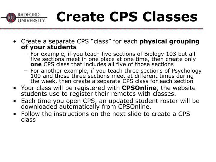 Create CPS Classes