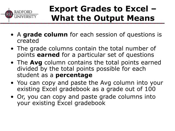 Export Grades to Excel – What the Output Means