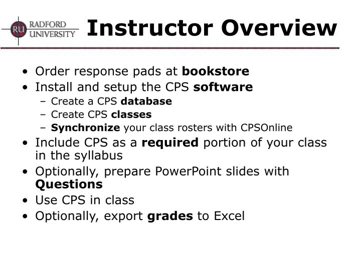 Instructor Overview