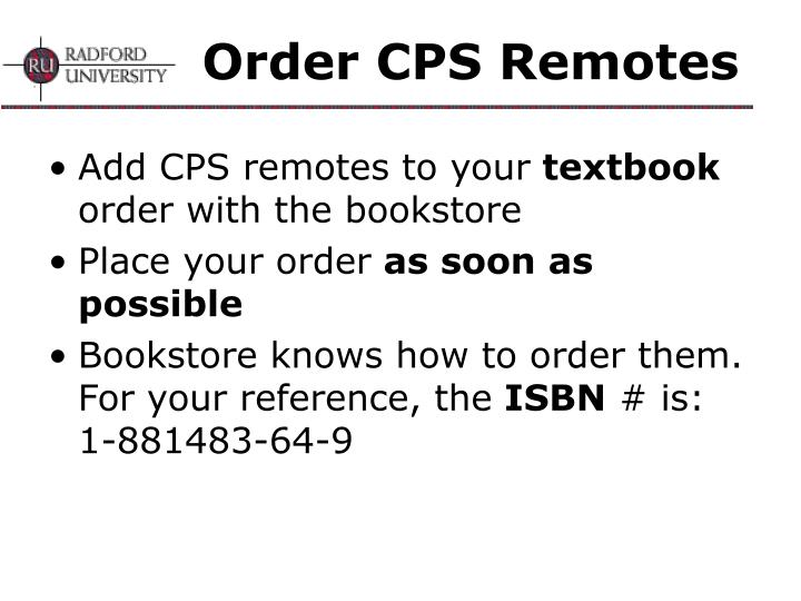 Order CPS Remotes