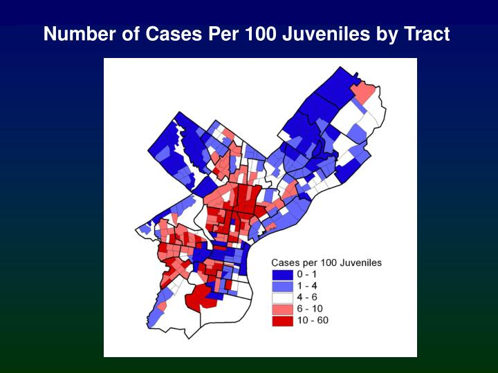 Number of Cases Per 100 Juveniles by Tract