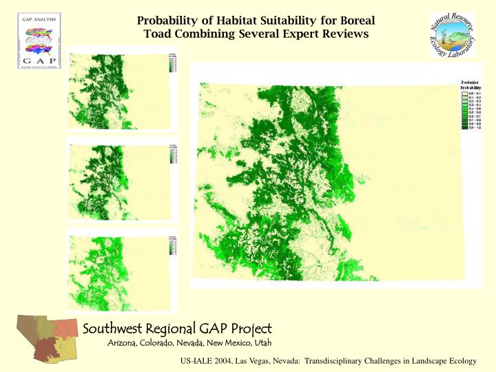 Probability of Habitat Suitability for Boreal Toad Combining Several Expert Reviews