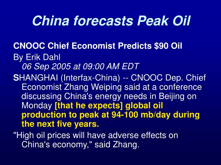 China forecasts Peak Oil
