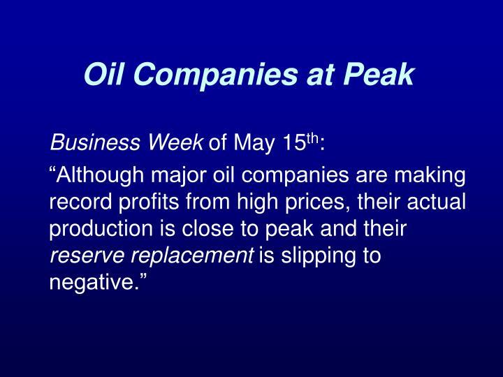 Oil Companies at Peak
