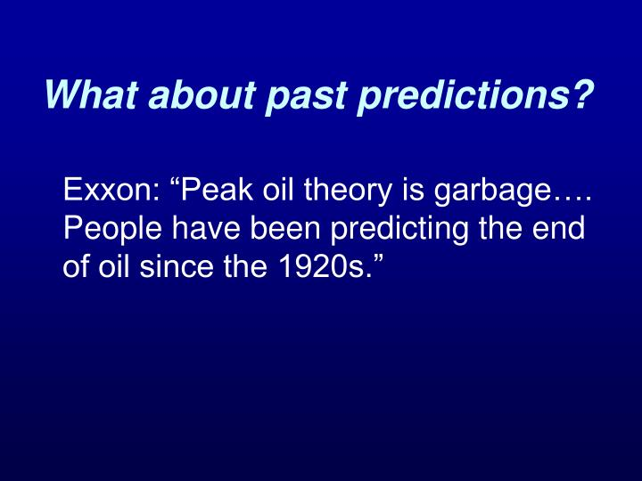 What about past predictions?