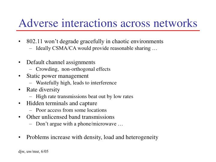 Adverse interactions across networks