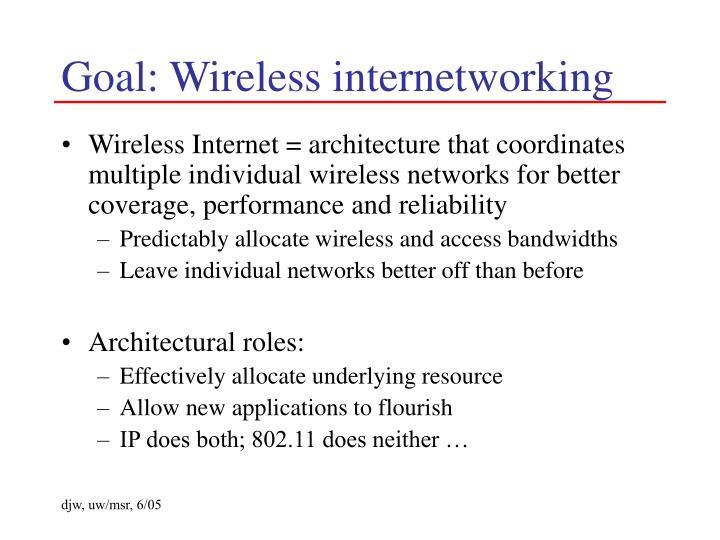 Goal: Wireless internetworking