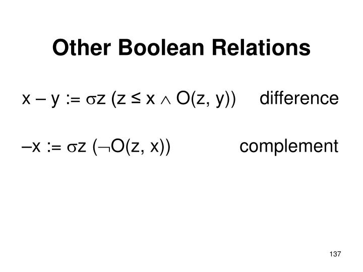 Other Boolean Relations