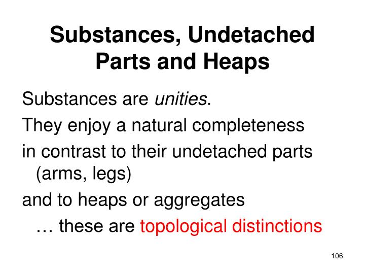 Substances, Undetached Parts and Heaps