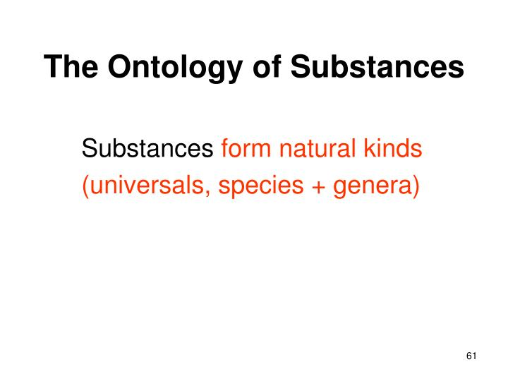 The Ontology of Substances