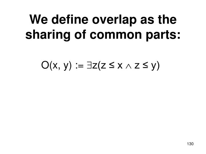 We define overlap as the sharing of common parts: