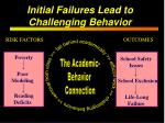 initial failures lead to challenging behavior