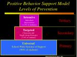positive behavior support model levels of prevention