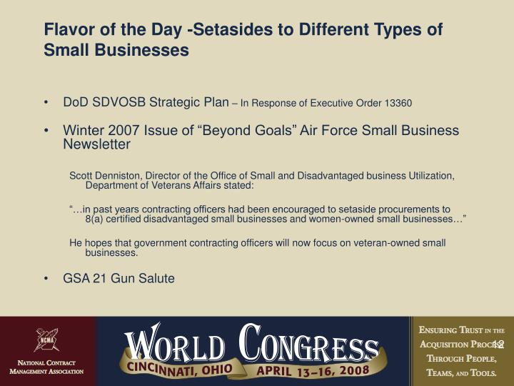 Flavor of the Day -Setasides to Different Types of Small Businesses