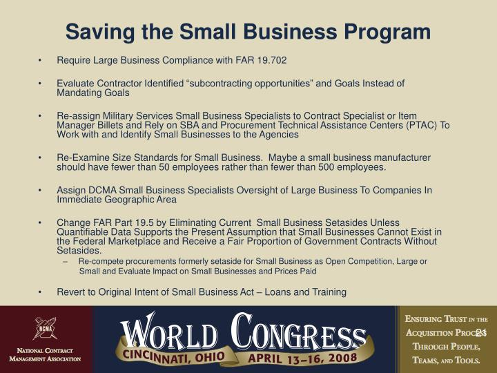 Saving the Small Business Program