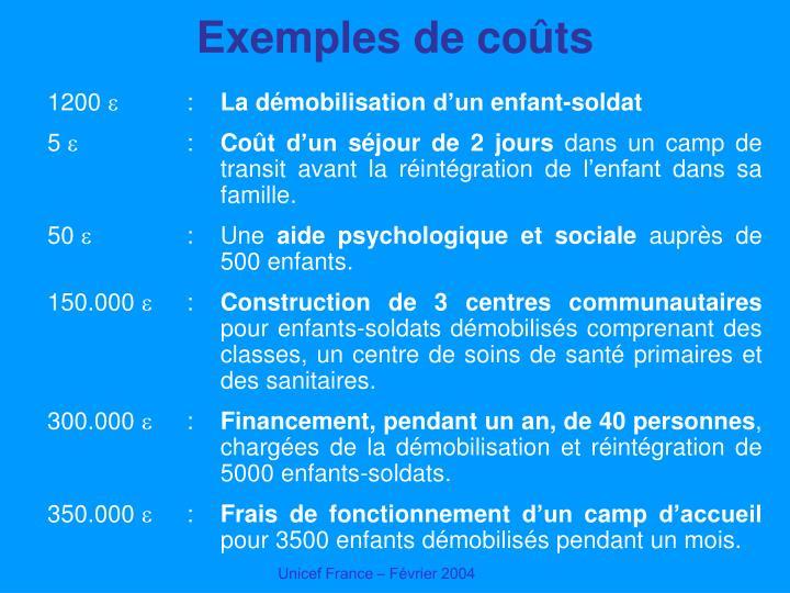 Exemples de coûts