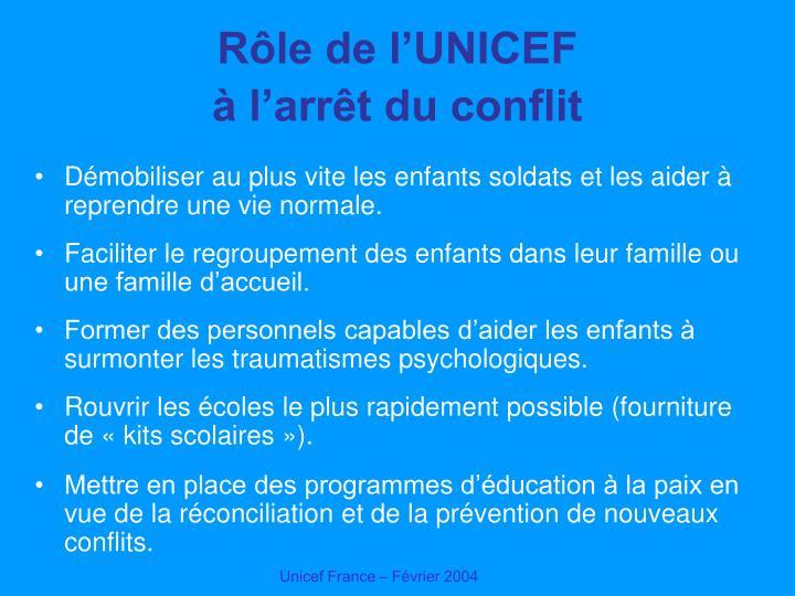 Rôle de l'UNICEF