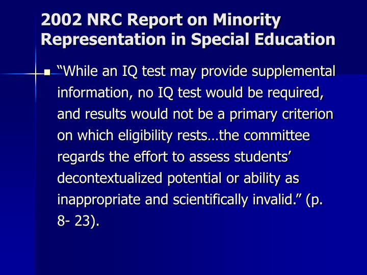 2002 NRC Report on Minority Representation in Special Education