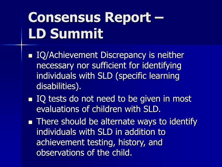 Consensus Report –