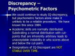 discrepancy psychometric factors