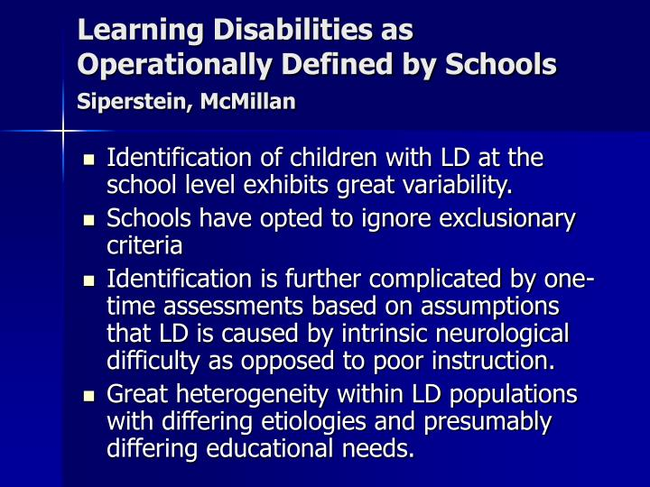 Learning Disabilities as